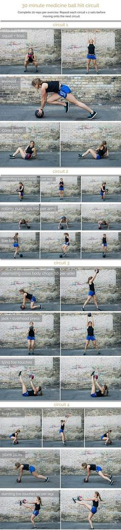 medicine ball hiit circuit workout | combine cardio, strength and stability in this medicine ball hiit circuit; a total body workout that you can do in 30 minutes or less. | http://www.nourishmovelove.com