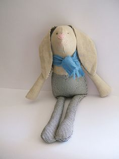 Stuffed bunny. Easter bunny.  Kids stuffed rag by ThePaperNeedle
