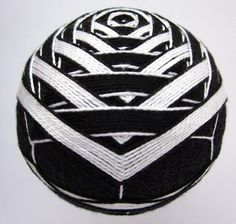 decorative ball - modern home decor - hand embroidered japanese temari thread ball - art deco black and white