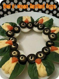 OMG SOOOOOO CUTE!!!!!  Owl Deviled Eggs  TOTALLY doing this for Christmas!!!