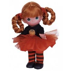 Halloween might be a time when ghosts and goblins run amok, but there is certainly nothing scary about this adorable trick-or-treater. Looking bewitching in her pumpkin shirt, orange tulle tutu, and striped stockings, she is sure to add a touch of cute Samhain Halloween, Halloween Doll, Halloween Party Decor, Happy Halloween, Precious Moments Dolls, Vinyl Dolls, Doll Maker, Make You Smile, Trick Or Treat