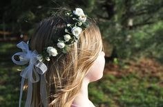 Wedding Flowers Flower Girl Hair Wreath by Hollysflowershoppe, $39.00