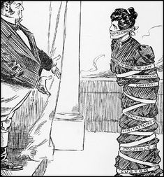 This political cartoon depicts the suffrage movement. The woman is being tied down by limitations and prejudice. Us History, Women In History, American History, Modern History, Haitian Revolution, French Revolution, Iron Jawed Angels, Seneca Falls, Suffrage Movement