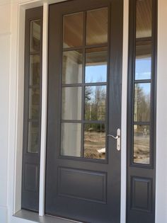 BJ Kendall Charcoal Paint Colors For Home, House Colors, Kendall Charcoal, Grey Front Doors, Entry Doors, Entrance, House Paint Exterior, House Painting, Curb Appeal