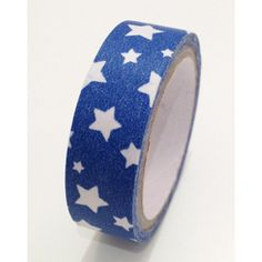 Ruban Washi Tape  ♥ 15mm ♥ 5 mètres ♥ Bleu avec étoiles en blanc  : Masking tape par la-folie-du-ruban