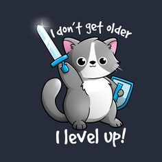 Check out this awesome 'Level+up+cat' design on Badass Drawings, Cute Cartoon Drawings, Cute Cartoon Animals, Anime Animals, Cute Animal Drawings, Cute Animals, Inspirational Animal Quotes, Cute Animal Quotes, Ariel Cartoon