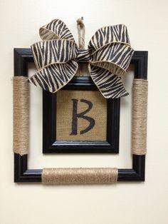 Monogrammed Picture Frame Wreath - Burlap Center