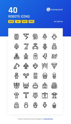 Robots   Icon Pack - 40 Line Icons