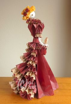 Origami Tournure - handcrafted by Anneke Kingma. Origami Girl, Origami Dress, Origami And Kirigami, Fabric Origami, Origami Paper, 3d Paper Projects, Paper Crafts, Origami Flowers, Paper Flowers
