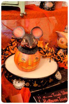 Original Halloween mouse atop an old tambourine ~ folk art by Johanna Parker