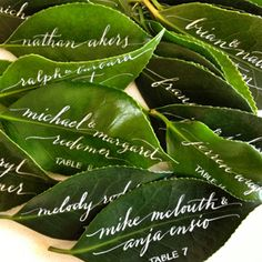 Love these beautiful leaf escort cards by Anne Robin!