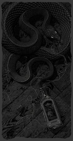 "Exclusive: Aaron Horkey's Graveyard Poster and ""The Siren"" Art Print - OMG Posters! Snake Wallpaper, Dark Wallpaper, Crazy Wallpaper, Hype Wallpaper, Dark Fantasy, Fantasy Art, Gravure Illustration, Illustration Art, Snake Art"