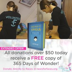 EXTENDED OFFER! Donations over $50 today will receive a #FREE copy of 365 Days of #Wonder! #CraniofacialAwarenessMonth #NCCAPM‬ #Donation