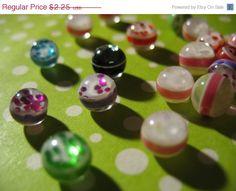 Summers End Sale 20 Foiled Glitter Striped Resin by LunasSecrets, $1.80