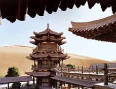 The oasis at Crescent Lake among the Mingsha Dunes.