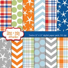 Love these may need for digital scrapping! preppy surfer digital scrapbook papers. $6.00, via Etsy.