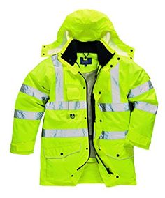westAce Mens Hi Vis Bomber Jacket Fleee Hi Viz Waterproof Workwear Pockets Padded Coat