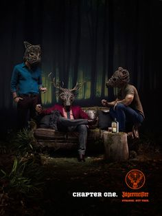 Jagermeister: Strange But True print advertising campaign with GPY&R Sydney with masked guys enjoying a drink in the forest club. Brisbane, Sydney, Print Advertising, Advertising Campaign, Best Ads, Chapter One, Art Direction, Creative, Painting