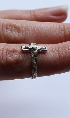 Sterling Silver Crucifix Ring by onetime on Etsy, $6.25
