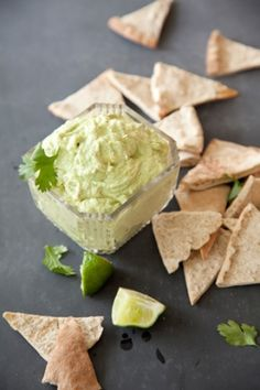Avocado Goat Cheese Dip with Whole-Wheat Pita Chip