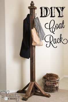 12 Creative DIY Coat Racks A round-up of some really great coat rack projects with lots of tutorials! Including simple diy coat rack from shanty 2 chic. Diy Wood Projects, Diy Projects To Try, Furniture Projects, Home Projects, Diy Furniture, Woodworking Projects, Woodworking Shop, System Furniture, Furniture Plans