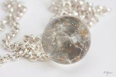 Dandelion pendant Sphere resin dandelion necklace by Agnera