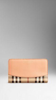 Leather Trim Haymarket Check Continental Wallet