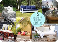15 awesome DIY outdoor furniture ideas. There's also a tue for a beautiful weathered finish farmhouse table!!