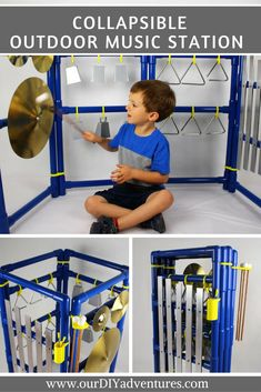 The ultimate outdoor music experience: our fully configurable music station. Let your imagination play!  This one of a kind red outdoor music station features a large xylophone, triangles, and a cymbal. Also included are three mallets, three triangle strikers, and holders for each.   The music station is extremely sturdy. The instruments are attached to the frame and will stand up to years of fun music making!  #playroom #kidsplayground #musical #childdevelopment #montessori #toys…