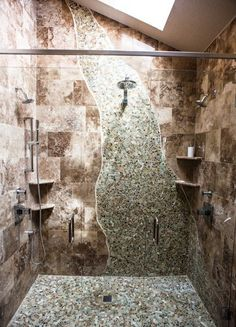 Creative tile shower with multiple shower heads.