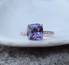 Purple Sapphire Ring Rose Gold Engagement Ring 14k diamond   Etsy Peach Sapphire Rings, Purple Sapphire, Rose Gold Diamond Ring, Engagement Ring Cuts, Rose Gold Engagement Ring, Fingers, Etsy, Rose Gold Square Engagement Ring
