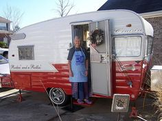 gorgeous red and white paint job on this 1963 Vintage Shasta Teardrop Trailer Daisy