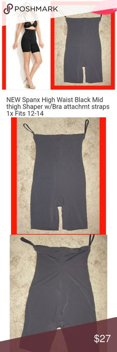 New Spanx 1x mid thigh girdle/shaper [sales sample See photos.  Has 2 detachable straps that attach to your bra to hold everything in place SPANX Intimates & Sleepwear Shapewear