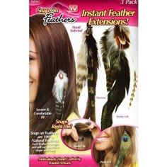 As Seen on Tv 3 Pack Snapon Feathers Extensions NEW *** Click image for more details. (This is an affiliate link) Feather Extensions, See On Tv, Peacock, Feathers, Ash, Goodies, Hair Accessories, Amazon, Link
