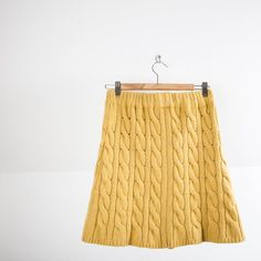 Saffron cable knitted yellow skirt, elastic waist, high-waisted, bohemian, preppy, size medium, large,