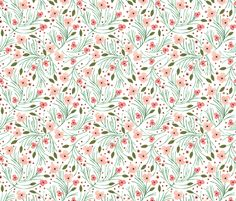 winter floral // pine fabric by ivieclothco on Spoonflower - custom fabric- change pad cover for nursery