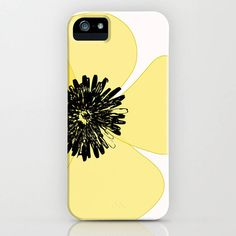 Indira Albert Poppy Flower In Yellow On The Phone Case (160 AED) ❤ liked on Polyvore featuring accessories and tech accessories