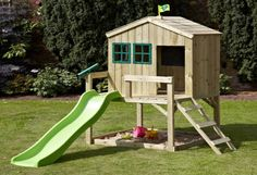 Wooden Playhouse With Slide At Front