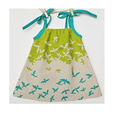 Free as a Bird Dress - Made with Teal Blue, Chartreuse Green and Sand Colored Linen Fabric with Birds - From Dress to Tunic with Tie Straps.  via Etsy. - japanese fabric // claradeparis.com ♥