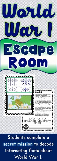 The World War I Escape Room will take students on a secret mission around the classroom! This escape room has students decode interesting facts about World War I. This is the perfect resource to introduce the Treaty of Versailles, the Zimmerman Telegram or Central and Allied Powers. The World War I Escape Room has students walking around the classroom breaking codes. #escape #activities #socialstudies