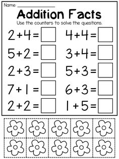 Addition cut and paste worksheet with counters. Great for kindergarten students. Each worksheet includes counters that students can cut out and use as manipulatives to work out the answers to the questions. This packet covers addition and subtraction to Kindergarten Addition Worksheets, Addition And Subtraction Worksheets, Free Kindergarten Worksheets, Preschool Writing, Math For Kids, Learning, Boys, Addition And Subtraction, Preschool