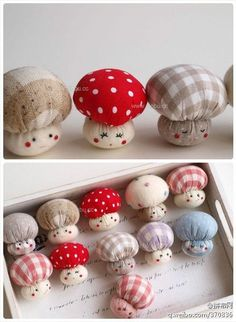 Tiny mushroom pin cushions and made out of old fabric Sewing Patterns Free, Free Sewing, Felt Crafts, Diy And Crafts, Felt Diy, Sock Crafts, Crochet Crafts, Crochet Ideas, Crochet Projects