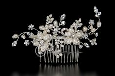 Bridal Hair Comb with Pearl Rhinestone Flowers from Cassandra Lynne