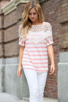 Stripe Lace Tops - Find both colors at www.groopdealz.com
