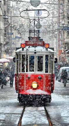 Winter, Christmas time, Tram by Niyazi Uğur Genca - Istanbul / Turkey. What a beautiful shot! Snow Scenes, Winter Scenes, Winter Christmas Scenes, Christmas Scenery, Christmas Images, Winter Beauty, Belle Photo, Wonderful Time, Christmas Time