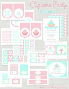 Pink and Aqua Cupcake Theme Party