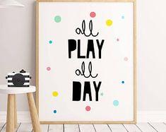 Playroom Wall Art,Let's Play, Nursery Decor, Playroom Decor, Playroom Sign, Playroom Decal, Playroom Art, Playroom Wall Decor, For Playroom