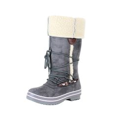Reneeze LULU-01 Womens Winter Combat Boots w/ Faux Fur Overlap - GREY-6.5 *** You can find out more details at the link of the image.
