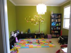 Toddler Playroom With Tree Decal! *i Like The Color* Toddler Playroom,  Playroom