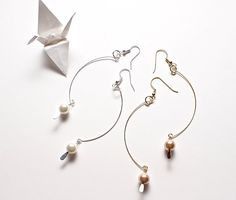 Gold or White Pearl and Wire Dangle Earrings by StringOfLuck, $12.00